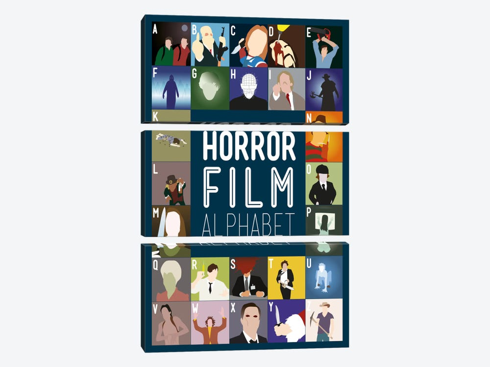 Horror Film Alphabet 3-piece Canvas Wall Art