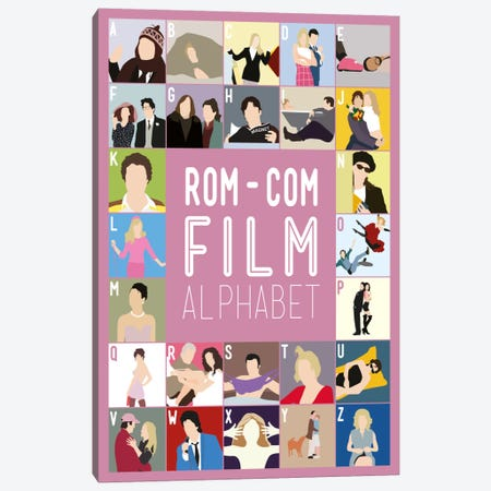 Rom-Com Film Alphabet Canvas Print #WLD96} by Stephen Wildish Art Print