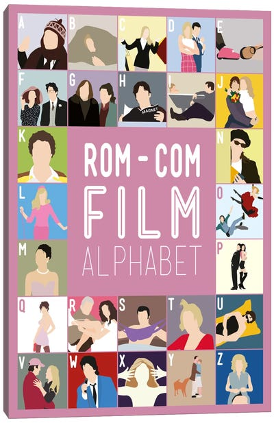 Rom-Com Film Alphabet Canvas Art Print