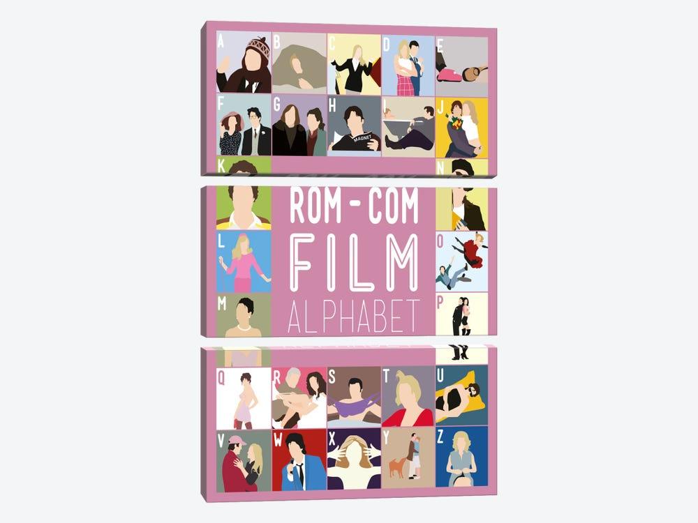 Rom-Com Film Alphabet by Stephen Wildish 3-piece Canvas Art Print