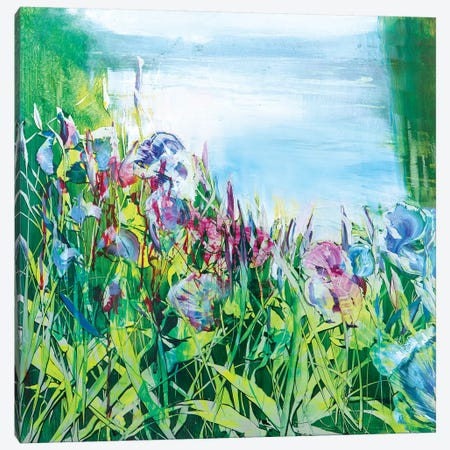Iris on the Pond Canvas Print #WLM11} by Jen Williams Canvas Print