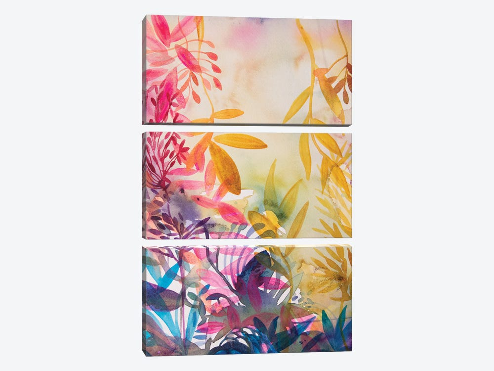 The Garden Of Happiness by Helen Wells 3-piece Canvas Art