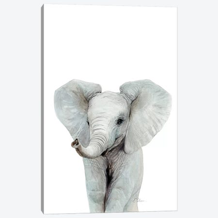 Baby Elephant Canvas Print #WLU100} by Watercolor Luv Canvas Print