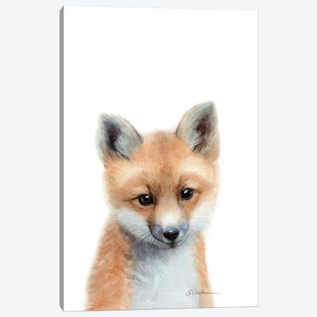 Baby Fox Canvas Print #WLU101} by Watercolor Luv Canvas Art Print