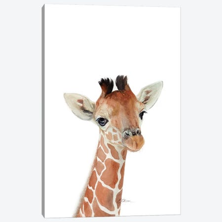 Baby Giraffe Canvas Print #WLU102} by Watercolor Luv Canvas Print