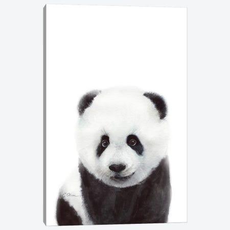 Baby Panda Canvas Print #WLU105} by Watercolor Luv Canvas Artwork