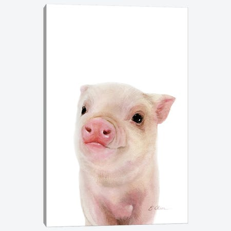 Baby Pig Canvas Print #WLU106} by Watercolor Luv Canvas Artwork