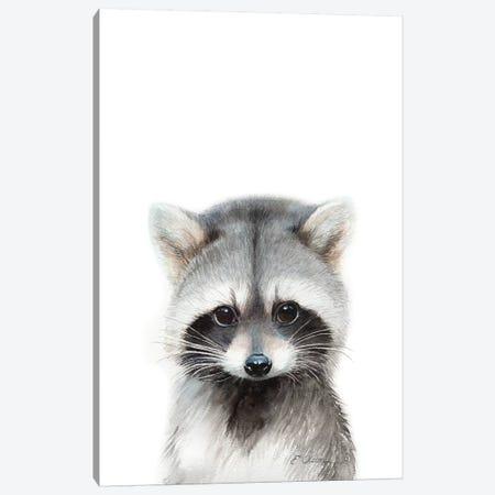 Baby Raccoon Canvas Print #WLU107} by Watercolor Luv Canvas Artwork