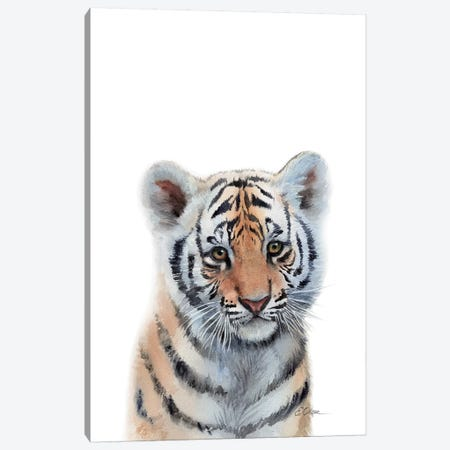 Baby Tiger Canvas Print #WLU108} by Watercolor Luv Canvas Art Print