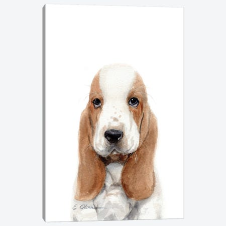 Basset Hound Puppy Canvas Print #WLU10} by Watercolor Luv Art Print