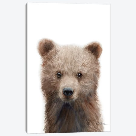 Grizzly Bear Cub Canvas Print #WLU110} by Watercolor Luv Canvas Wall Art
