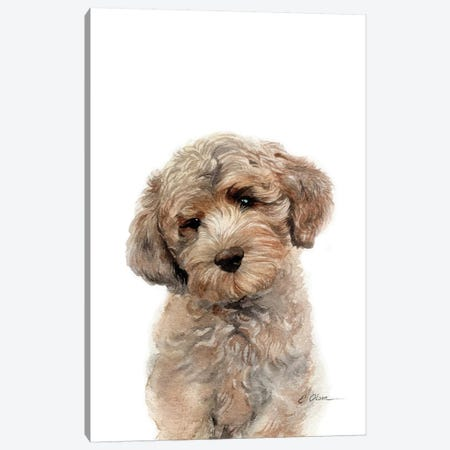 Brown Golden Doodle Puppy Canvas Print #WLU112} by Watercolor Luv Canvas Wall Art