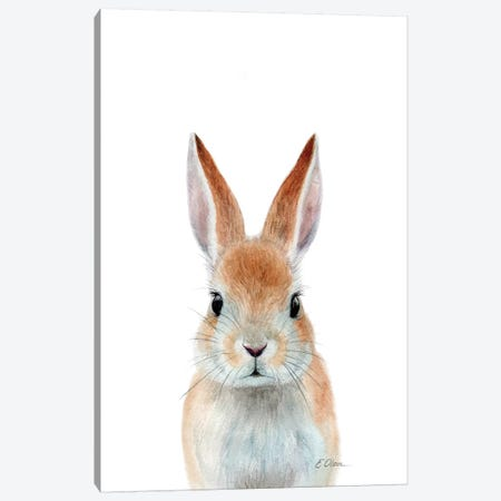 Rabbit Ears Canvas Print #WLU113} by Watercolor Luv Canvas Wall Art