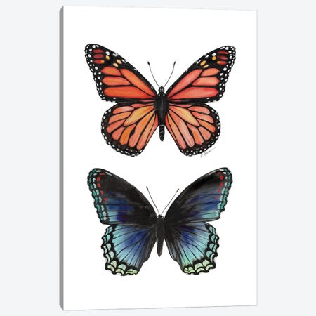 Butterfly Duet Canvas Print #WLU114} by Watercolor Luv Canvas Print