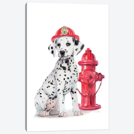 Fire Station Pal Canvas Print #WLU115} by Watercolor Luv Art Print