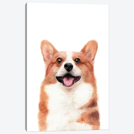 Happy Corgi Canvas Print #WLU117} by Watercolor Luv Canvas Art Print