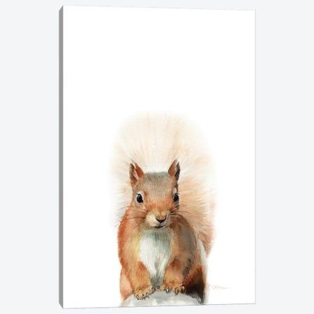 Happy Squirrel Canvas Print #WLU121} by Watercolor Luv Canvas Art Print