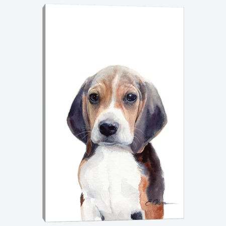 Beagle Puppy Canvas Print #WLU12} by Watercolor Luv Canvas Print