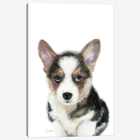 Black Corgi Puppy Canvas Print #WLU18} by Watercolor Luv Canvas Print