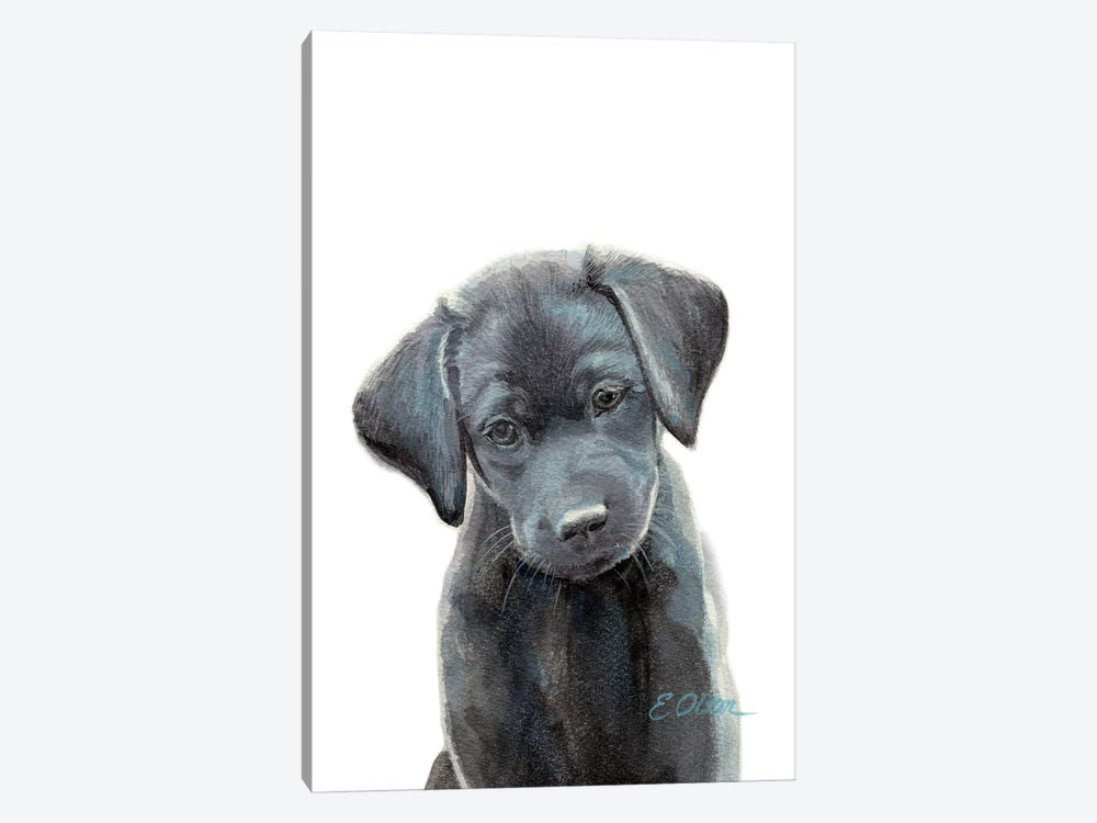 Black Lab Puppy I by Watercolor Luv 1-piece Canvas Art