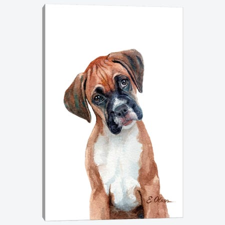 Boxer Puppy Canvas Print #WLU22} by Watercolor Luv Canvas Art