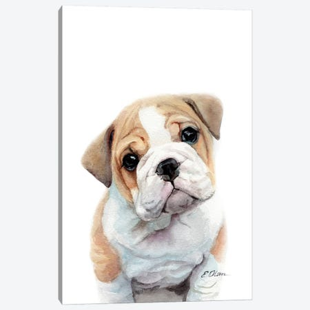 Bulldog Puppy Canvas Print #WLU23} by Watercolor Luv Canvas Artwork