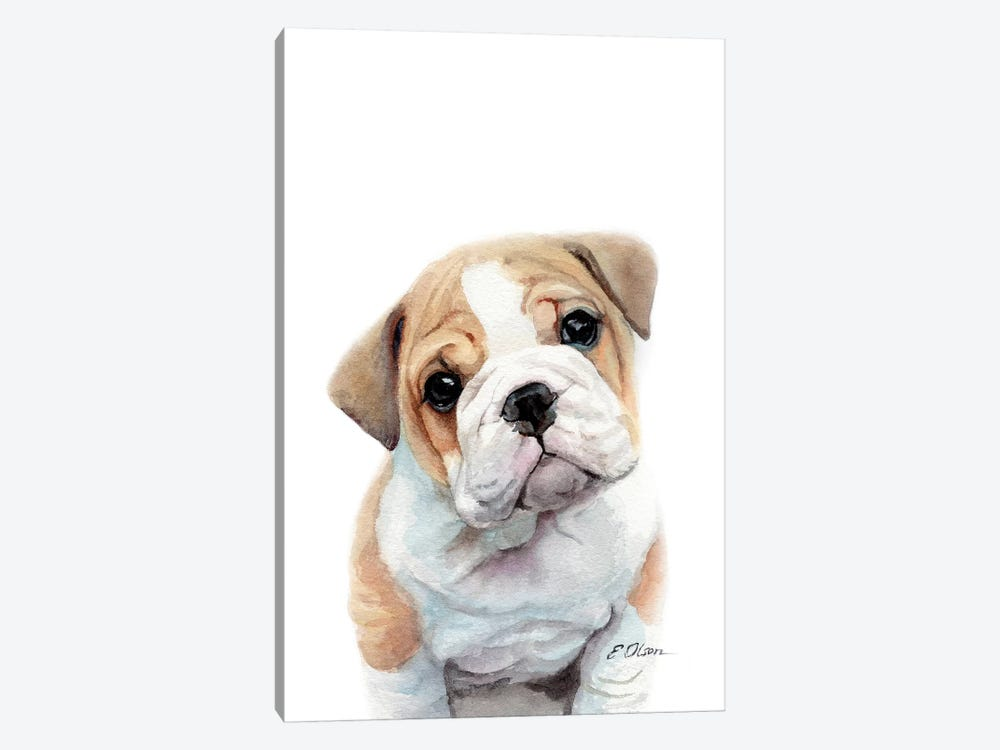 Bulldog Puppy by Watercolor Luv 1-piece Art Print