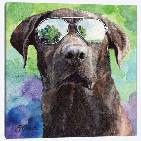 Chocolate Lab in Aviators Canvas Print #WLU25} by Watercolor Luv Canvas Art Print
