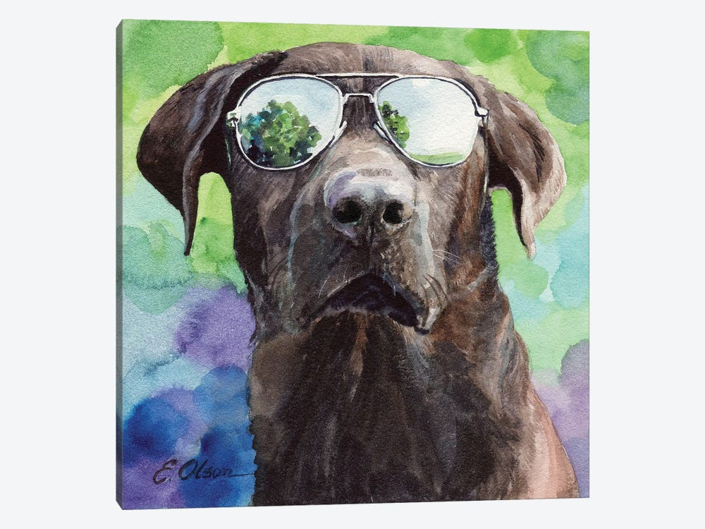 Chocolate Lab in Aviators by Watercolor Luv 1-piece Canvas Print
