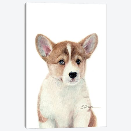 Corgi Puppy Canvas Print #WLU30} by Watercolor Luv Canvas Art Print
