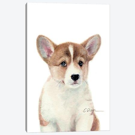 Corgi Puppy Canvas Print #WLU30} by Watercolor Luv Canvas Art Print