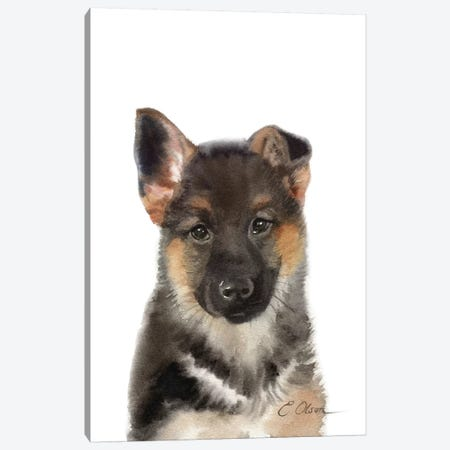 German Shepherd Puppy Canvas Print #WLU34} by Watercolor Luv Canvas Art
