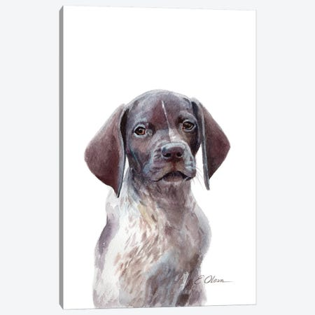 German Shorthaired Pointer Puppy Canvas Print #WLU35} by Watercolor Luv Canvas Artwork