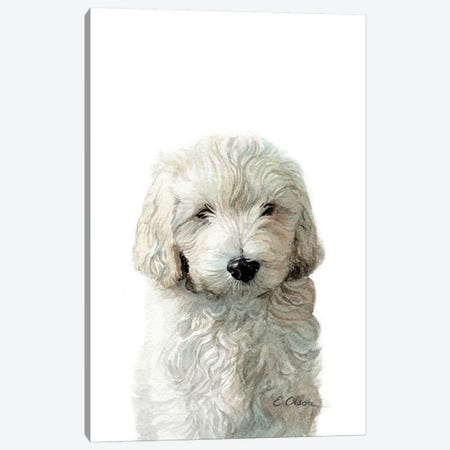 Golden Doodle Puppy Canvas Print #WLU36} by Watercolor Luv Canvas Artwork