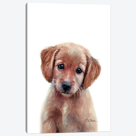 Golden Retriever Puppy Canvas Print #WLU37} by Watercolor Luv Canvas Wall Art