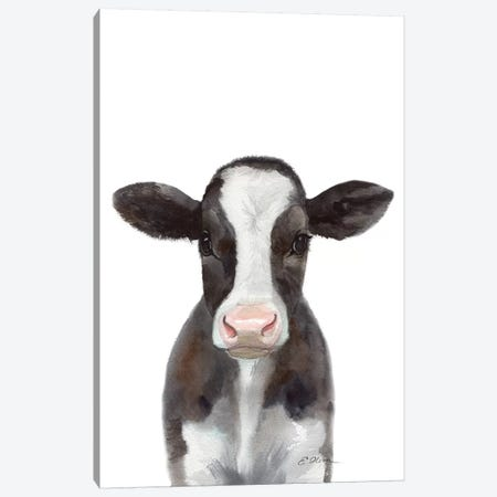 Holstein Calf Canvas Print #WLU40} by Watercolor Luv Canvas Artwork