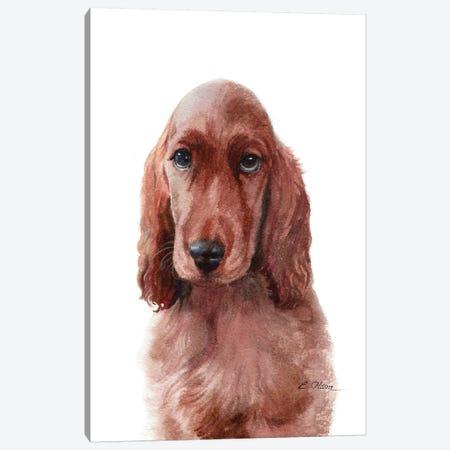 Irish Setter Puppy Canvas Print #WLU42} by Watercolor Luv Canvas Artwork
