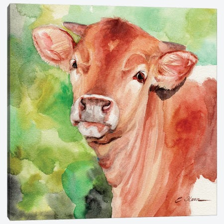 Longhorn Calf Canvas Print #WLU45} by Watercolor Luv Canvas Print