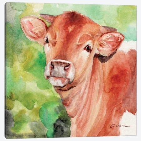 Longhorn Calf Canvas Print #WLU45} by Watercolor Luv Canvas Print