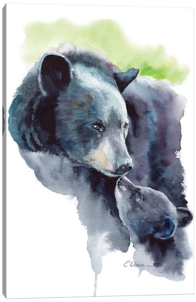 Mother and Baby Bears Canvas Art Print