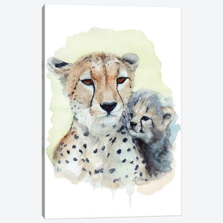 Mother and Baby Cheetahs Canvas Print #WLU52} by Watercolor Luv Canvas Print