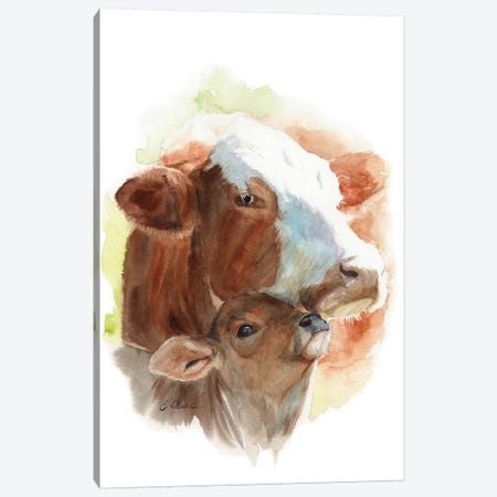 Mother and Baby Cows Canvas Print #WLU53} by Watercolor Luv Canvas Art Print