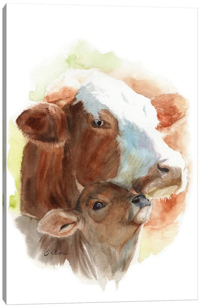 Mother and Baby Cows Canvas Art Print