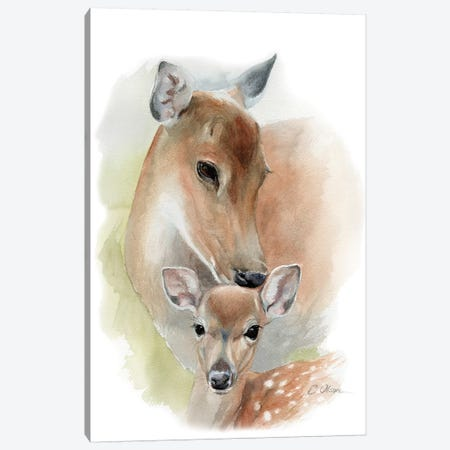 Mother and Baby Deer Canvas Print #WLU54} by Watercolor Luv Canvas Wall Art