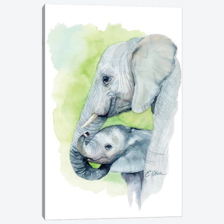 Mother and Baby Elephants I Canvas Print #WLU55} by Watercolor Luv Canvas Artwork