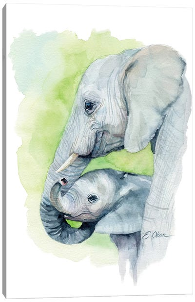 Mother and Baby Elephants I Canvas Art Print
