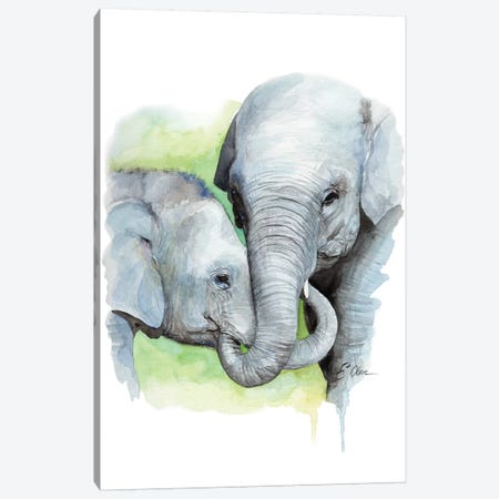 Mother and Baby Elephants II Canvas Print #WLU56} by Watercolor Luv Canvas Art