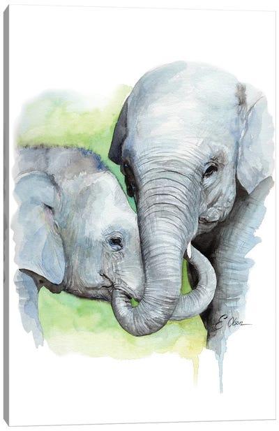 Mother and Baby Elephants II Canvas Art Print
