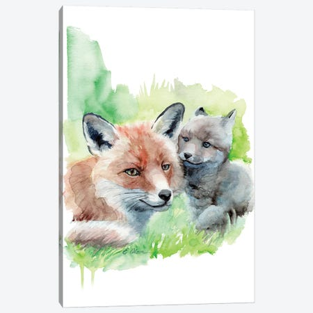 Mother and Baby Foxes Canvas Print #WLU57} by Watercolor Luv Canvas Artwork