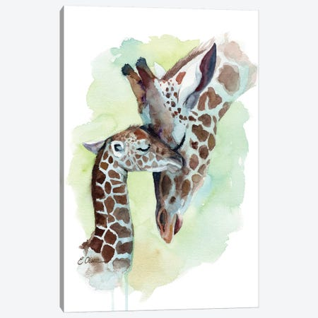 Mother and Baby Giraffes Canvas Print #WLU58} by Watercolor Luv Canvas Art Print